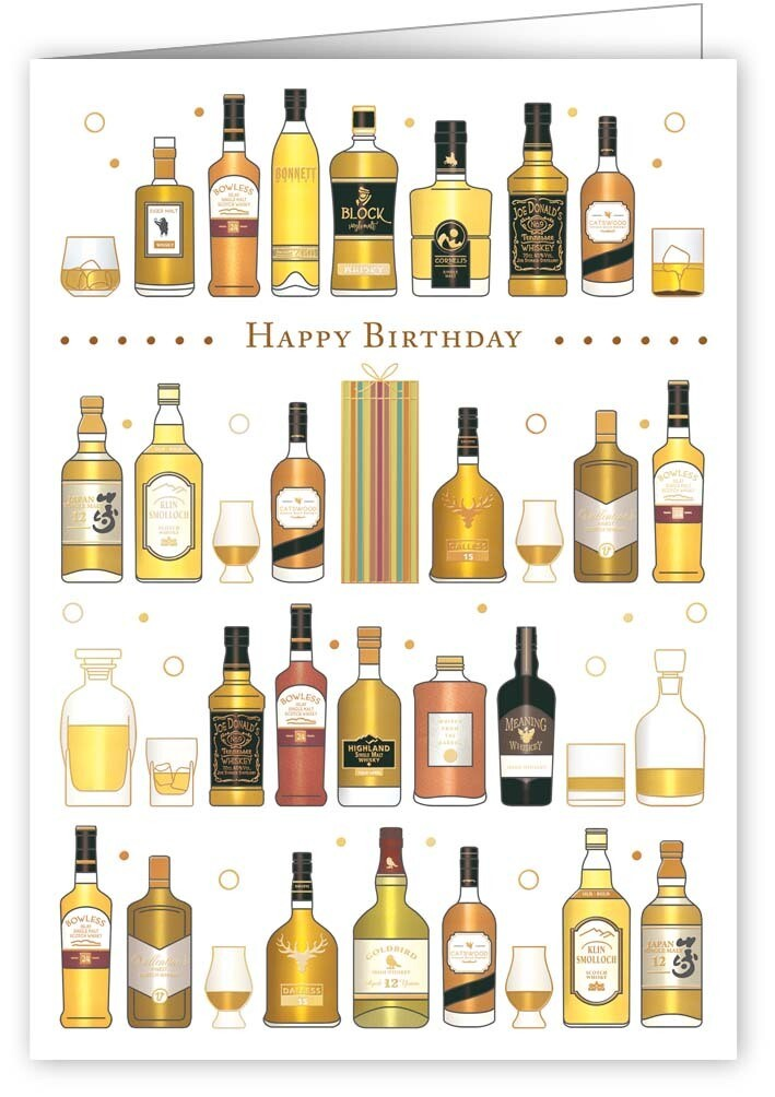 "CARTE DE VŒUX ""HAPPY BIRTHDAY WHISKIES"""