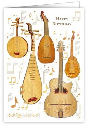 "CARTE DE VŒUX ""HAPPY BIRTHDAY GUITARS"""