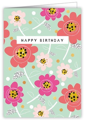 "CARTE DE VŒUX ""HAPPY BIRTHDAY FLOWERS"""