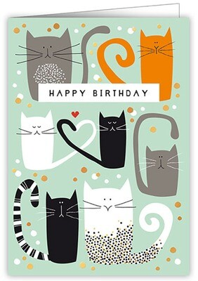 "CARTE DE VŒUX ""HAPPY BIRTHDAY CATS"""
