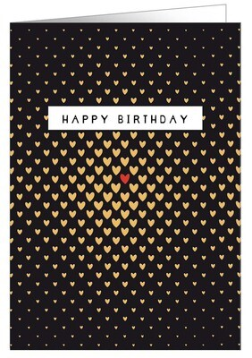 "CARTE DE VŒUX ""HAPPY BIRTHDAY CŒURS GOLD"""