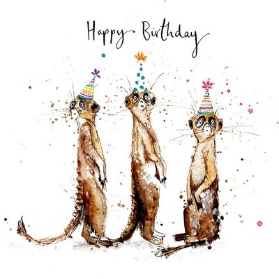 "CARTE DE VŒUX ""HAPPY BIRTHDAY SURICATES"""