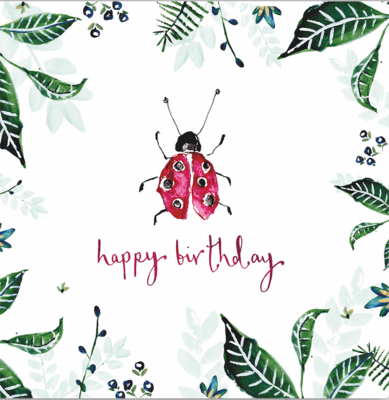 "CARTE DE VŒUX ""HAPPY BIRTHDAY COCCINELLE"""