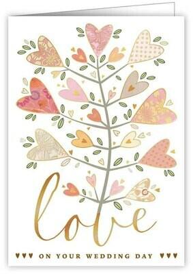 "CARTE DE VŒUX ""LOVE ON YOUR WEDDING DAY"""