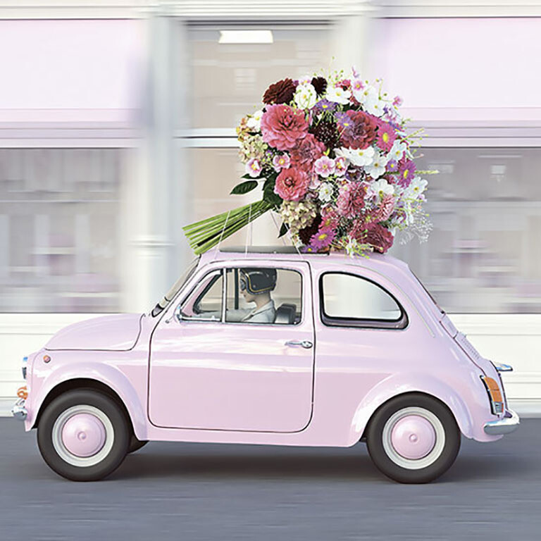 "CARTE DOUBLE PHOTO ""VOITURE ROSE"""