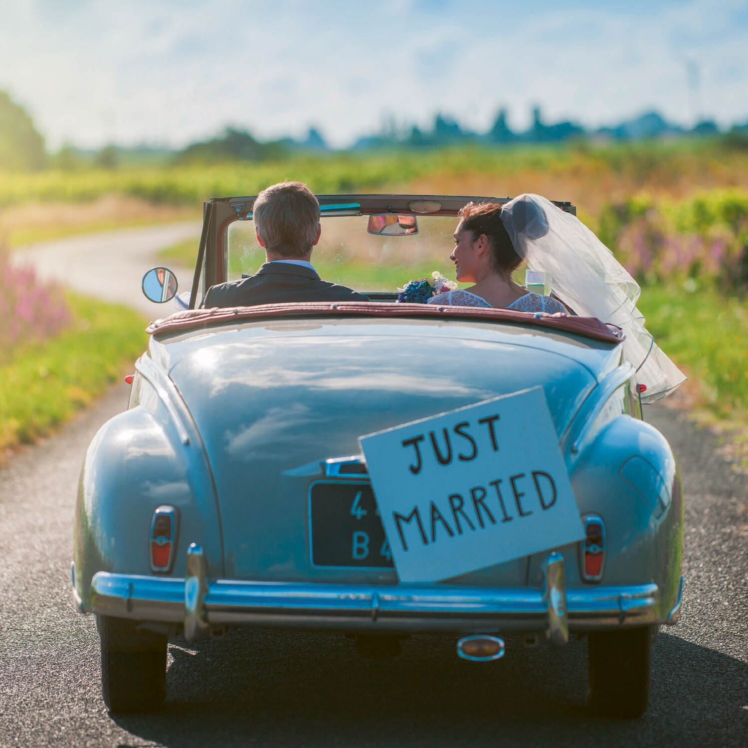 "CARTE DOUBLE PHOTO ""JUST MARRIED"""