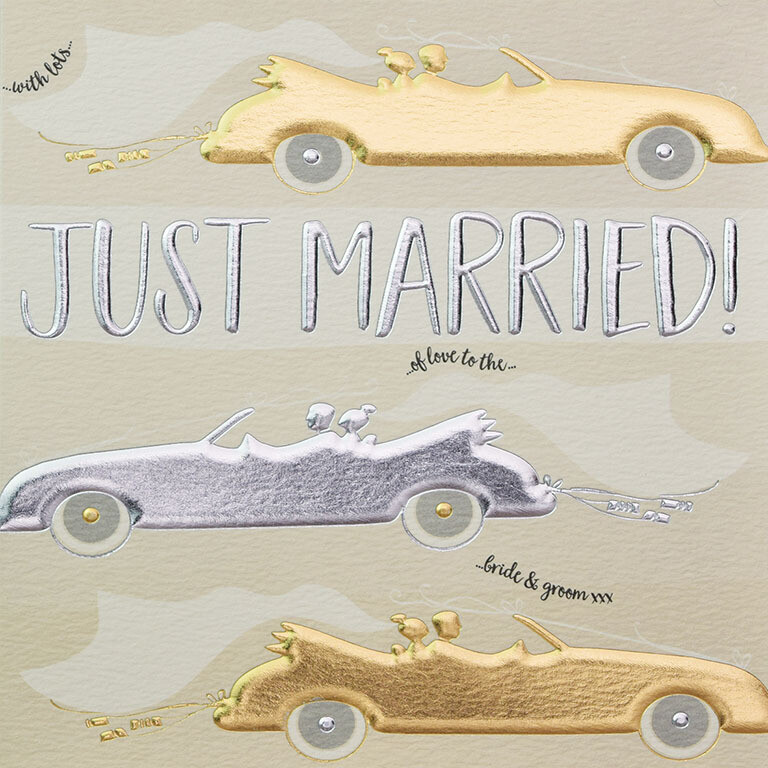 "CARTE DE VŒUX ""JUST MARRIED"""