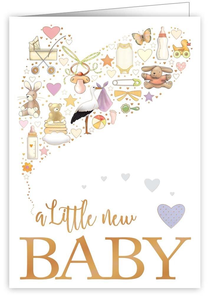 """CARTE DE VŒUX """"A LITTLE NEW BABY"""""""
