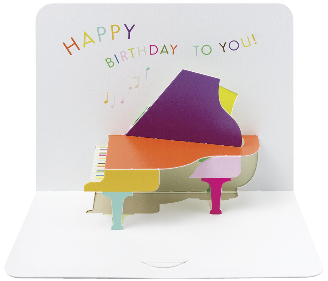 "CARTE DE VŒUX 3D ""HAPPY BIRTHDAY PIANO"""