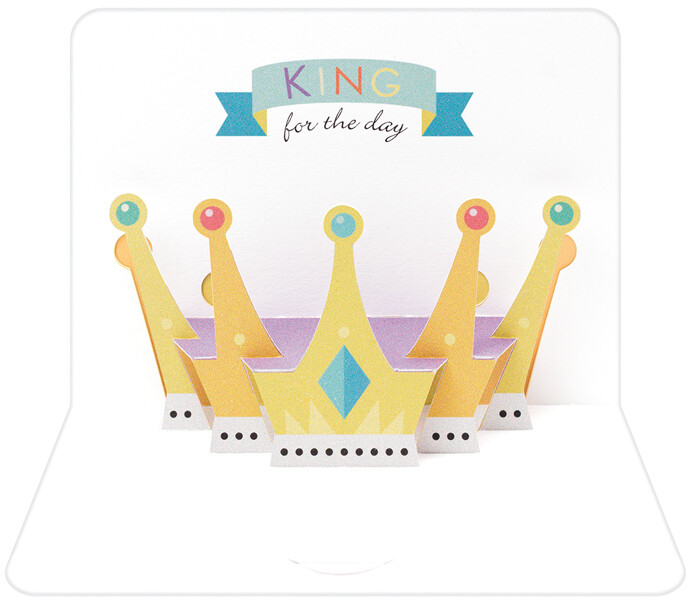 """CARTE DE VŒUX 3D """"KING FOR THE DAY"""""""
