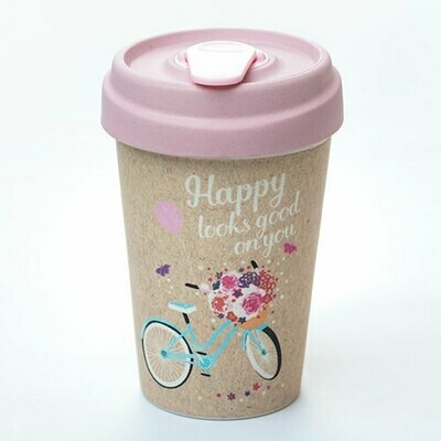 """BAMBOO CUP """"HAPPY LOOKS GOOD"""""""
