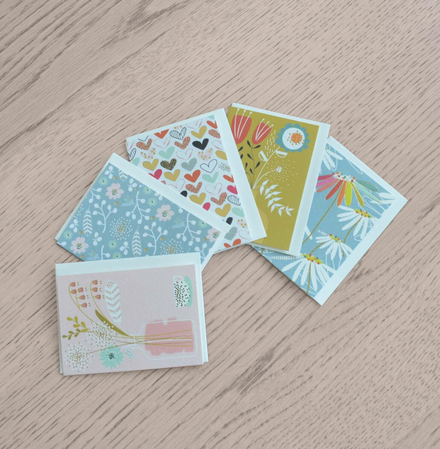 "PACK DE 5 MINI CARTES ""PRETTY IN PRINT"""