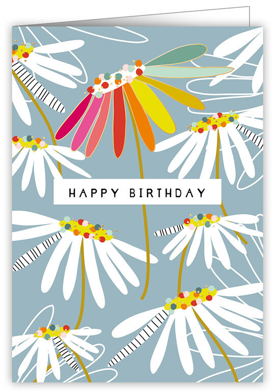 "CARTE DE VŒUX ""HAPPY BIRTHDAY DAISIES"""