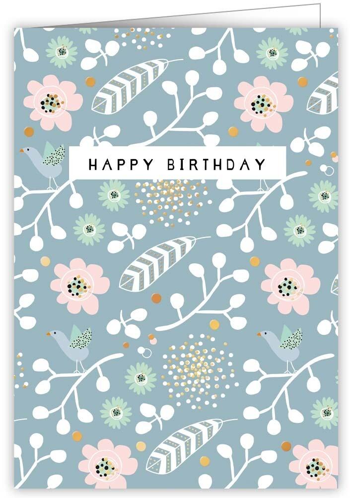 "CARTE DE VŒUX ""HAPPY BIRTHDAY FLOWERS"""