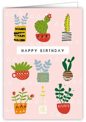 "CARTE DE VŒUX ""HAPPY BIRTHDAY PLANTS"""