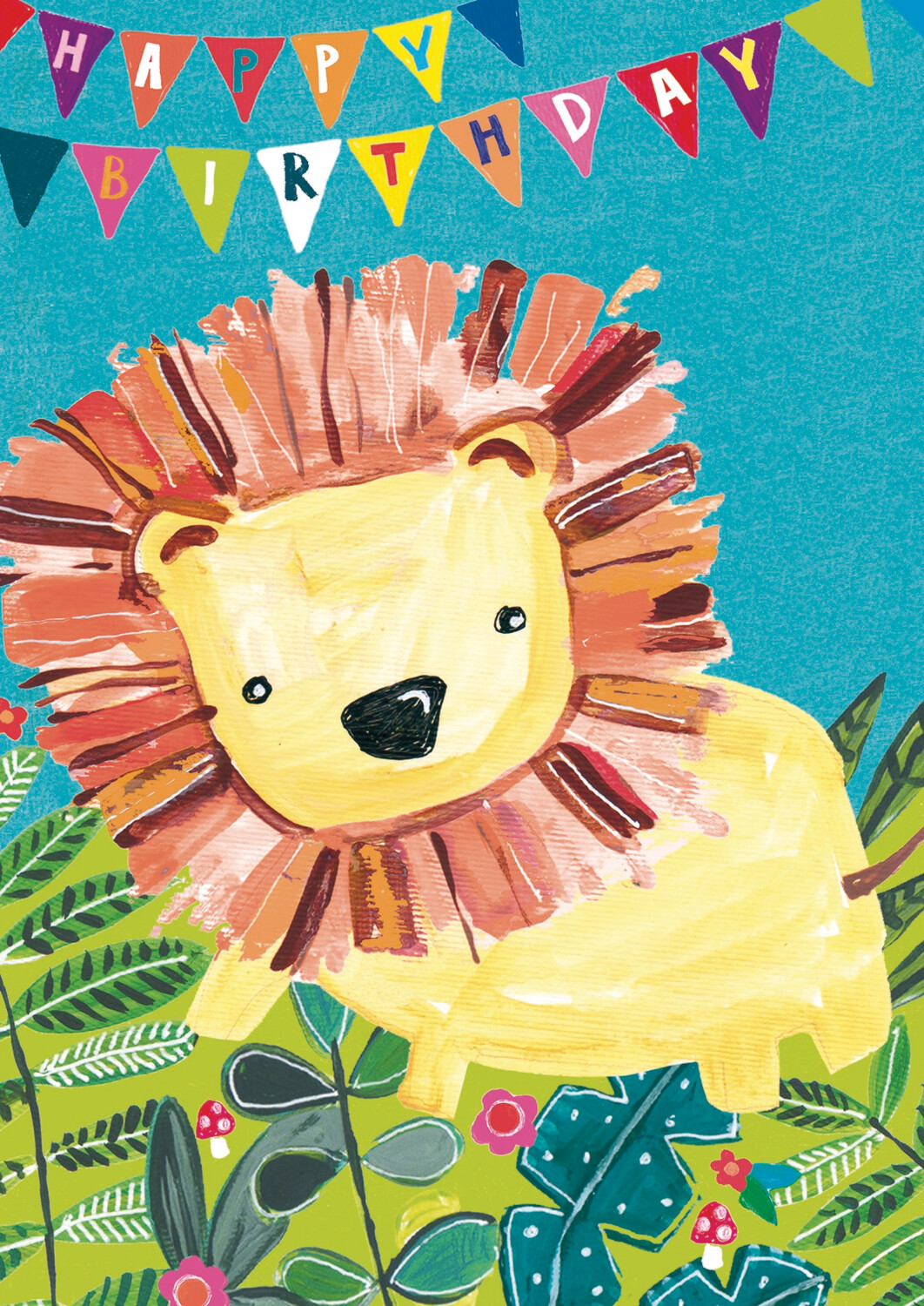 "CARTE DE VŒUX ""HAPPY BIRTHDAY LION"""