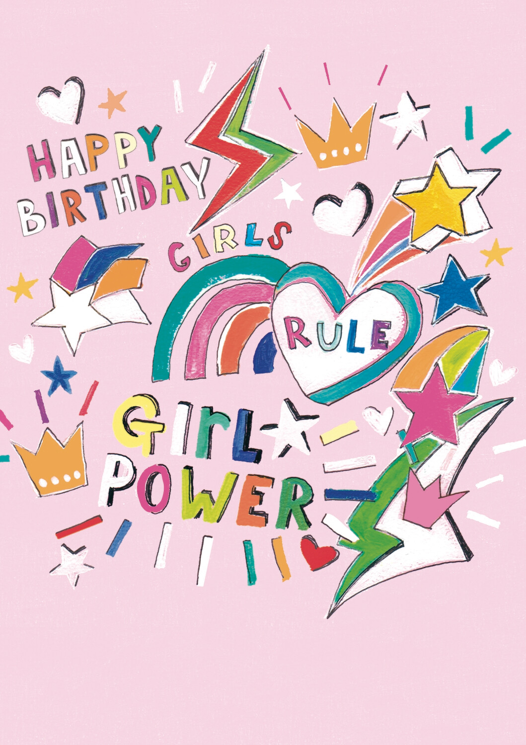 "CARTE DE VŒUX ""HAPPY BIRTHDAY GIRL POWER"""