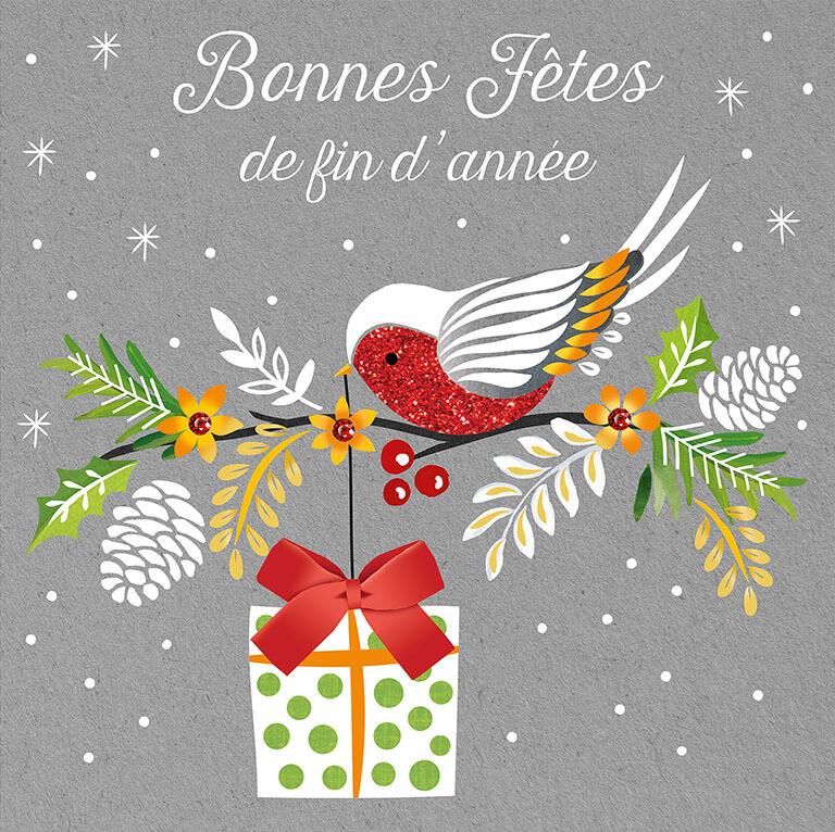 """CARTE DE NOËL """"BONNES FÊTES DE FIN D'ANNÉE"""""""