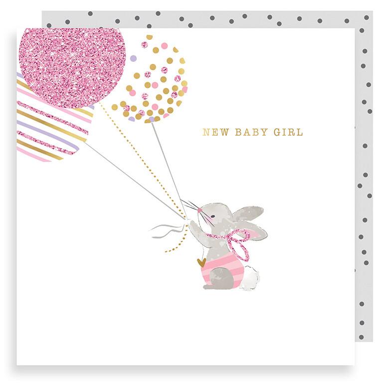"""CARTE DE VŒUX """"NEW BABY GIRL"""""""