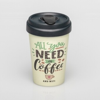 """BAMBOO CUP """"ALL YOU NEED IS COFFEE"""""""