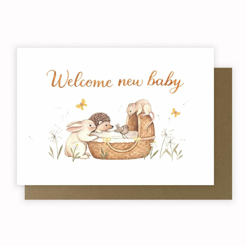 "CARTE DE VŒUX ""WELCOME NEW BABY"""