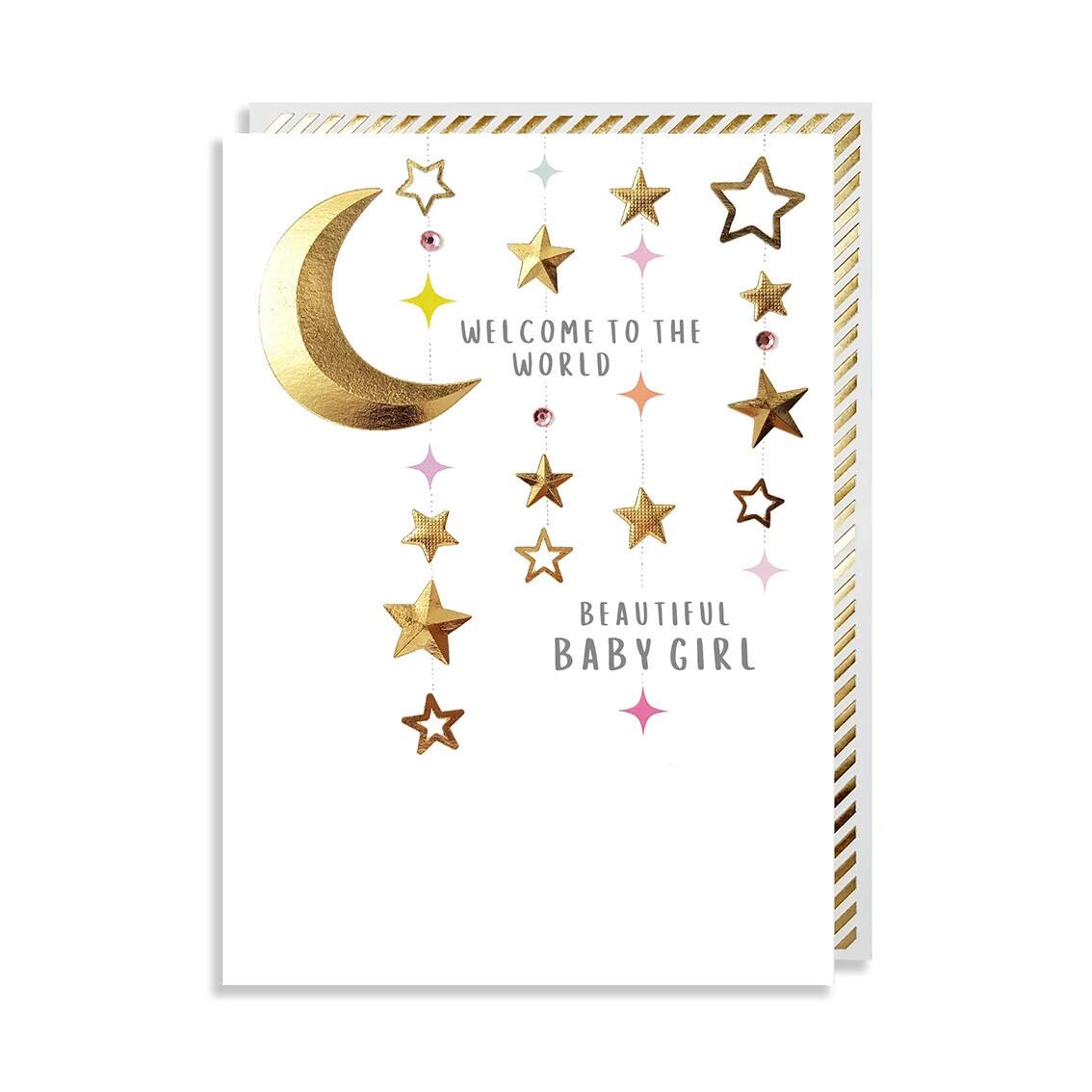 """CARTE DE VŒUX """"BEAUTIFUL BABY GIRL"""""""