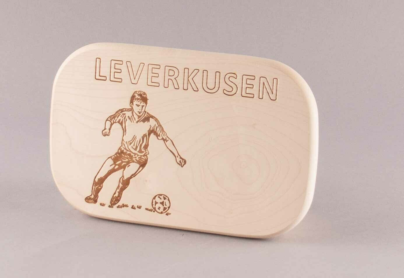 "Brotzeitbrett natur ""Fußball LEVERKUSEN"""