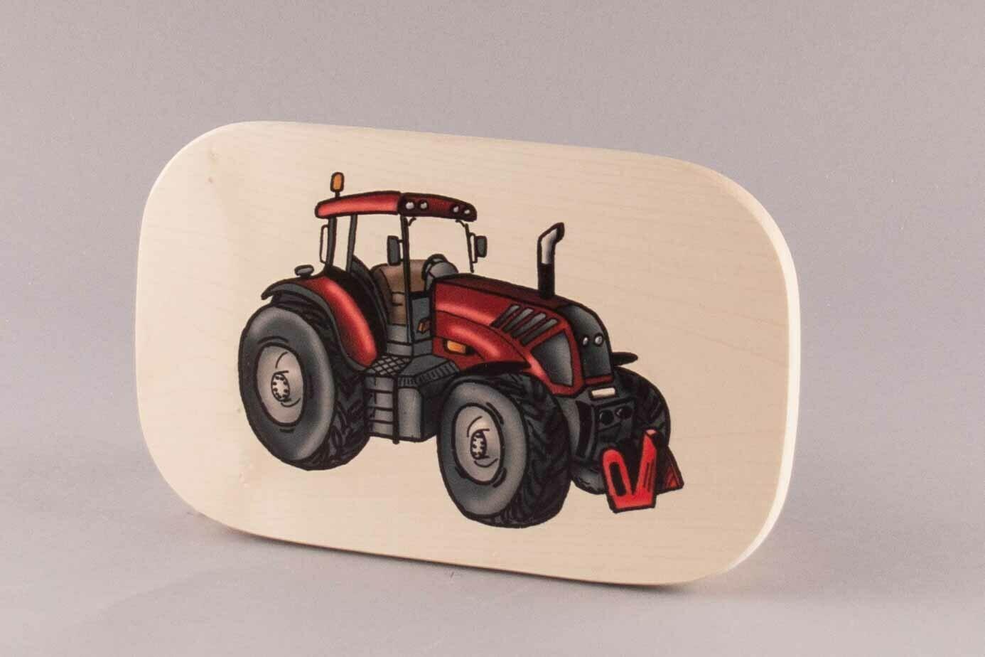 """Brotzeitbrett """"roter Traktor"""" groß, farbig"""