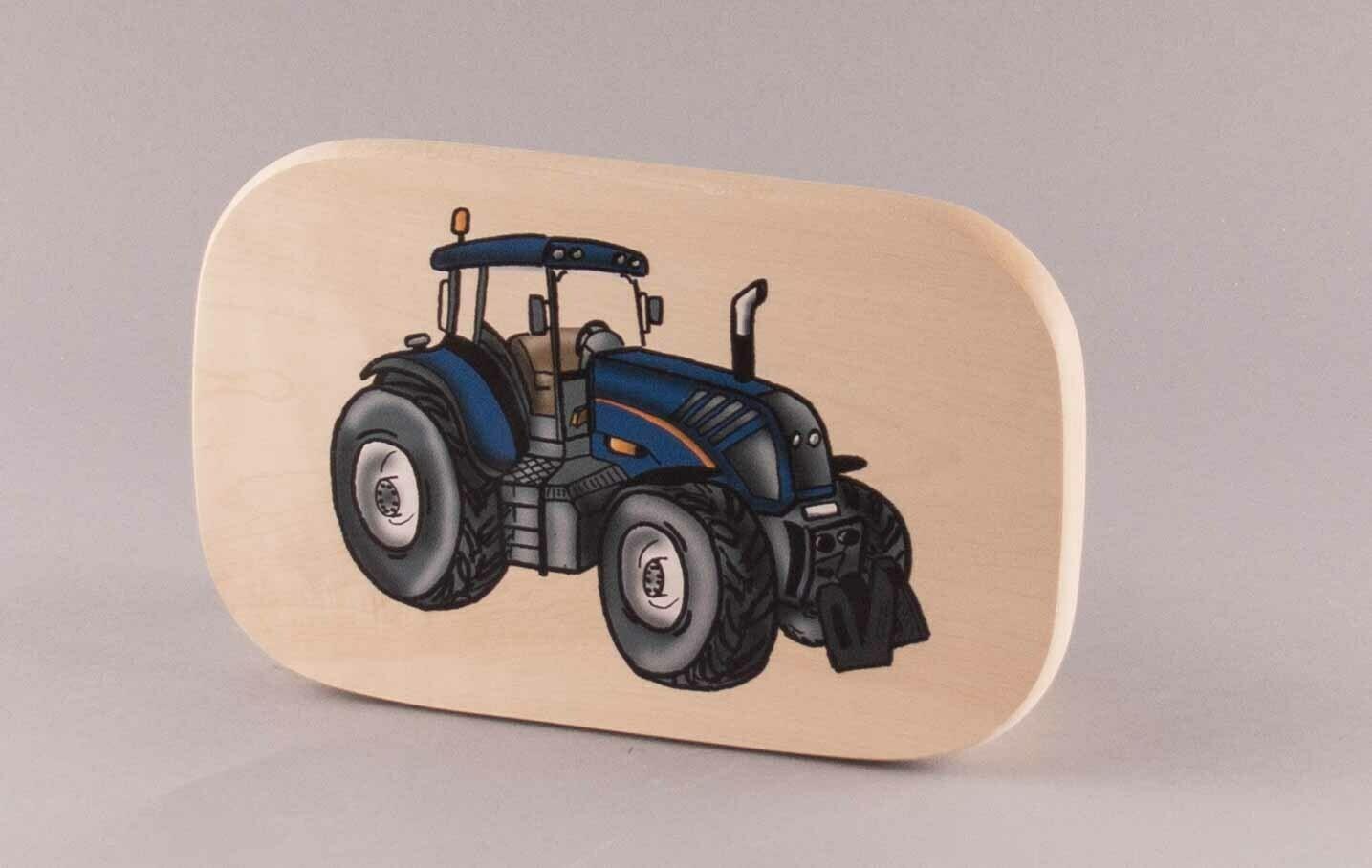 "Brotzeitbrett ""blauer Traktor"" groß, farbig"