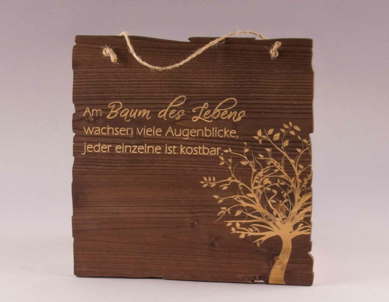 """Holzschild """"Am Baum des Lebens..."""""""