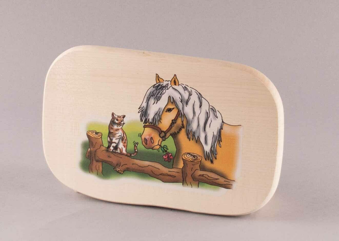 "Brotzeitbrett ""Pferd mit Katze"" groß, farbig"
