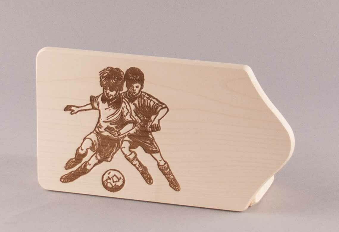 """Brotzeitbrett """"Fußballer-Duell"""" klein, natur"""