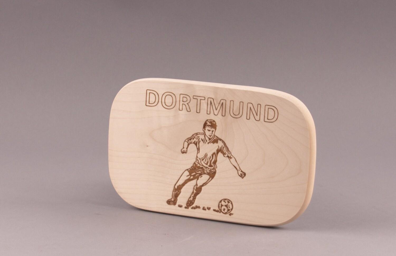 "Brotzeitbrett natur Fußball ""DORTMUND"""