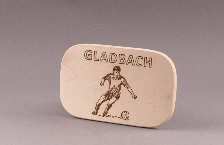 "Brotzeitbrett natur Fußball ""GLADBACH"""