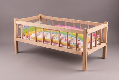GOKI Holz-Gitterbett für Puppen mit Decke