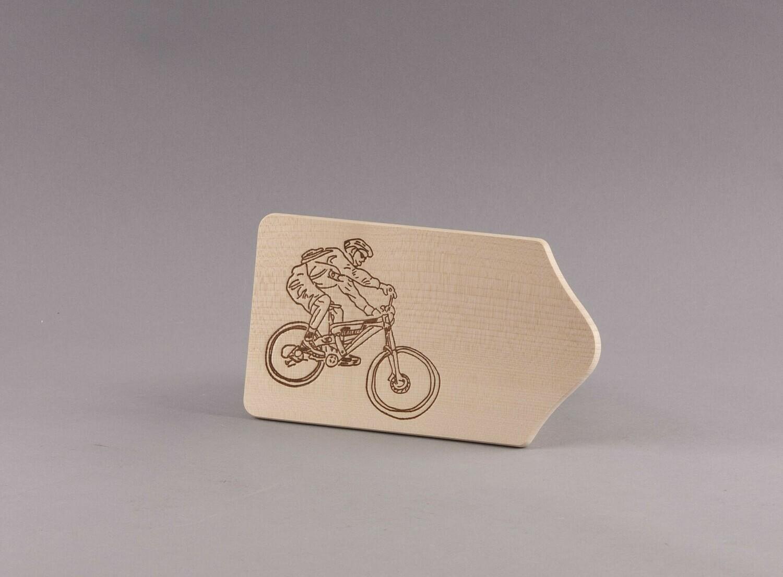 "Brotzeitbrett ""Mountainbiker"" klein, natur"