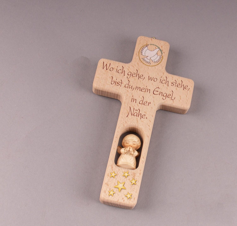 """Kinderkreuz """"Wo ich gehe, wo ich stehe, bist du mein Engel in der Nähe."""""""