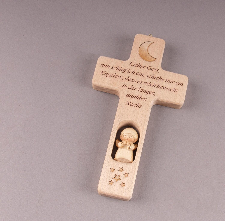 """Kinderkreuz """"Lieber Gott, nun schlaf ich ein, schicke mir ein Engelein, dass es mich bewacht, in der langen, dunklen Nacht."""""""