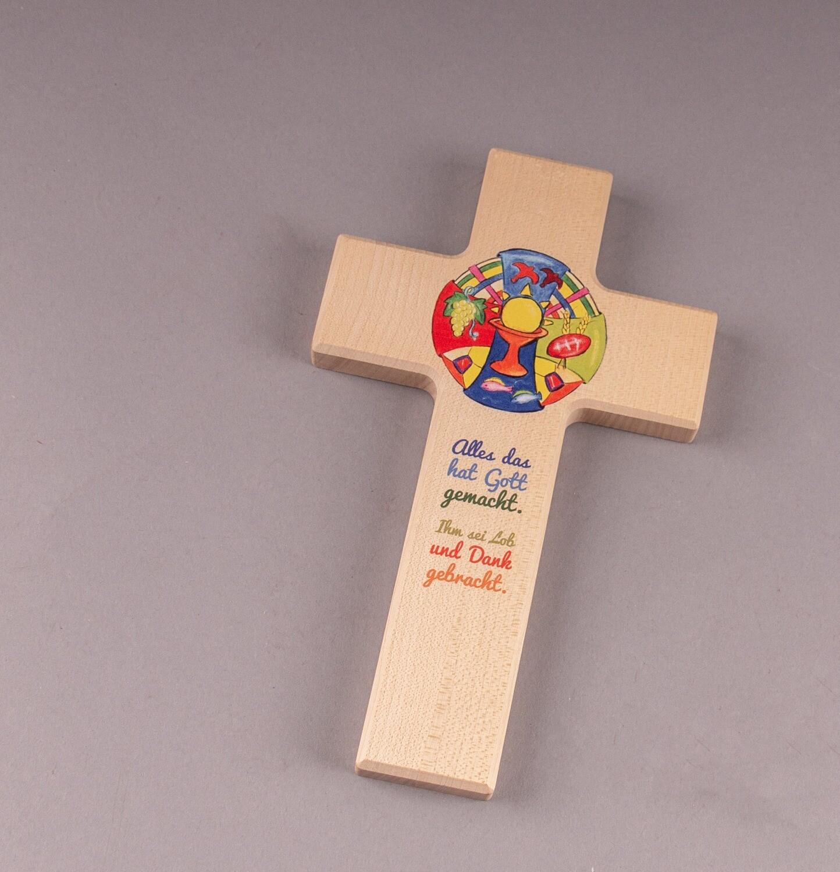 """Kinderkreuz """"Alles das hat Gott gemacht. Ihm sei Lob und Dank gebracht."""""""