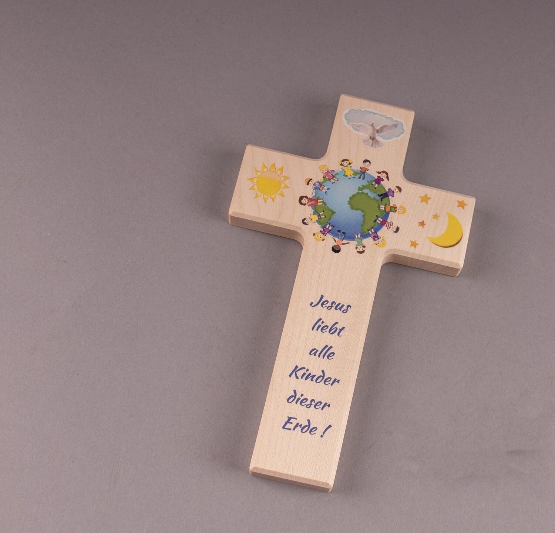"""Kinderkreuz """"Jesus liebt alle Kinder dieser Erde"""""""