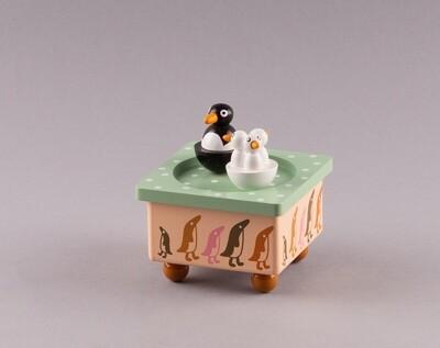 """Holz-Spieluhr """"Pinguine"""""""