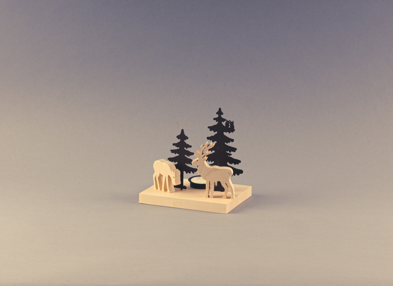 """Tischleuchter """"Winterbild Waldtiere"""""""