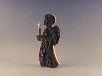 Rinden-Engel mit Kerze