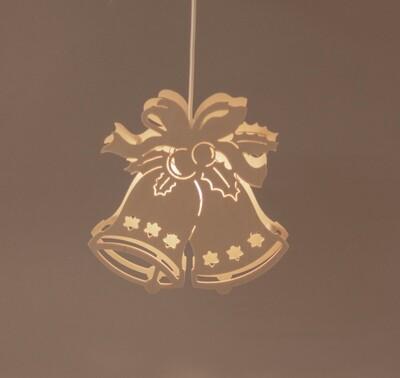 Fensterbild kleine Glocke mit Schleife beleuchtet