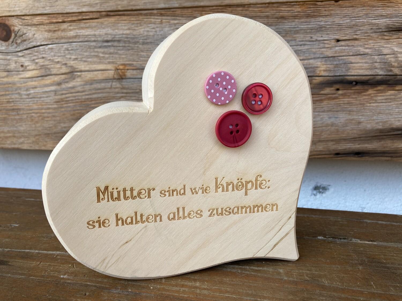 """Herz klassisch """"Mütter sind wie Knöpfe…"""" mit unterschiedlichen Knöpfen"""
