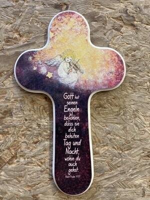 """Kinderkreuz """"Gott hat seinen Engeln befohlen, dass sie dich behüten Tag und Nacht, wohin du auch gehst"""""""