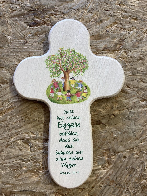 """Kinderkreuz """"Gott hat seinen Engeln befohlen, dass sie dich behüten auf allen deinen Wegen."""