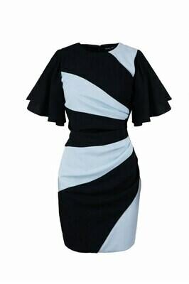 Короткое черно-голубое платье