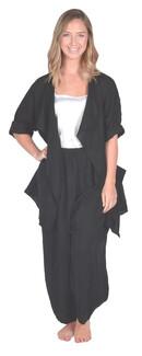 Catherine Lillywhite's-Black Drape Collar Linen Jacket