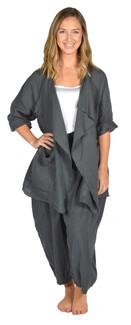 Catherine Lillywhite's-Gray Drape Collar Linen Jacket